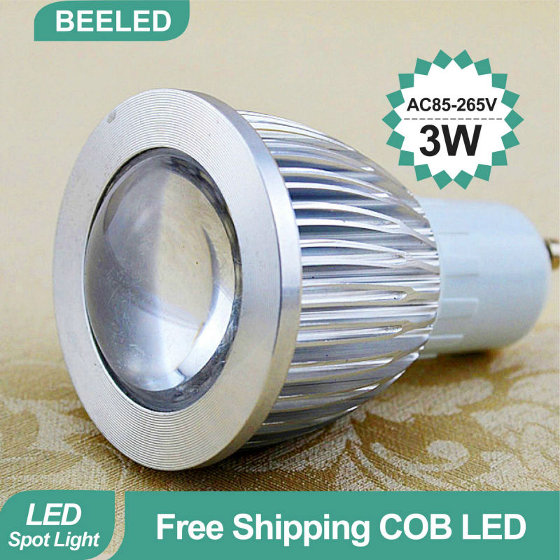 LED spotlight GU10 COB LED bulb lamp Free Shipping China Post High brightness E27 3W 5W 220V 12V 110V GU10 Warm White Cool White(China (Mainland))