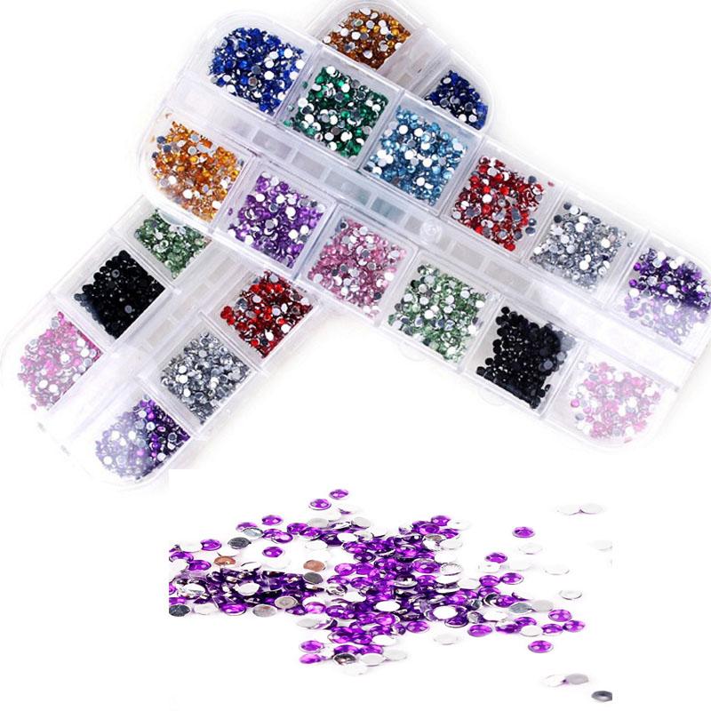 Hot Selling Nail Art Rhinestones Designs 3d Nail DIY Jewelry 2mm Glitter Round Adhesive Rhinestones For Nails Art Tool wholesale(China (Mainland))