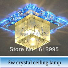 1PC 3W led crystal light porch,corridors creative square ceiling lamp sitting room Chandeliers blue light(China (Mainland))