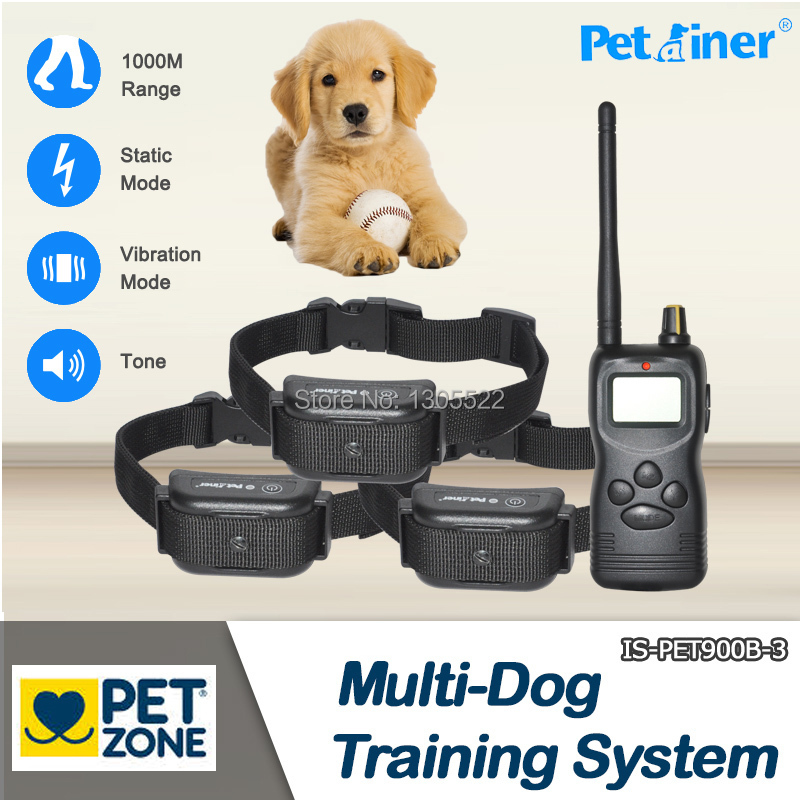Free shipping Waterproof and rechargeable 1000m remote dog training collar shock for 3 dogs Newest design(China (Mainland))