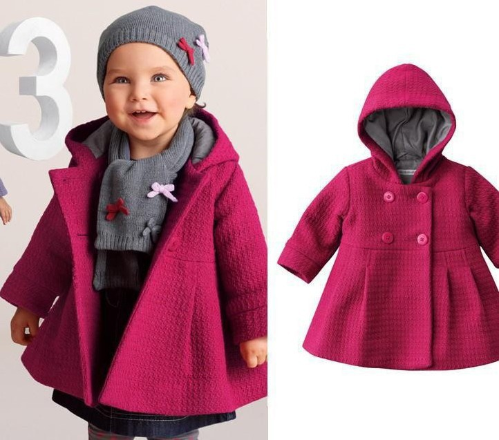 Foreign Trade 2017 Autumn Winter 0-3 Yrs Baby Infant Kids Casual Trench Coat Little Girls Children Cute Hooded Tweed Jacket G873