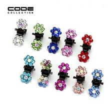 12 pcs/lot Metal Flower Mini Hair Claw for Girls Colorful Crystal Rhinestone Hair Chaw Accessories for Hair HW128