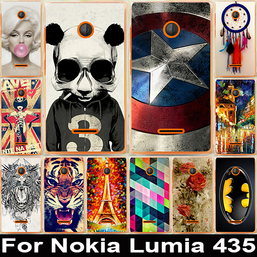 22 pattern Luxury Painted Cute Lovely Cartoon UV Print Hard Cover Case For Microsoft Nokia Lumia 435 case in stock(China (Mainland))