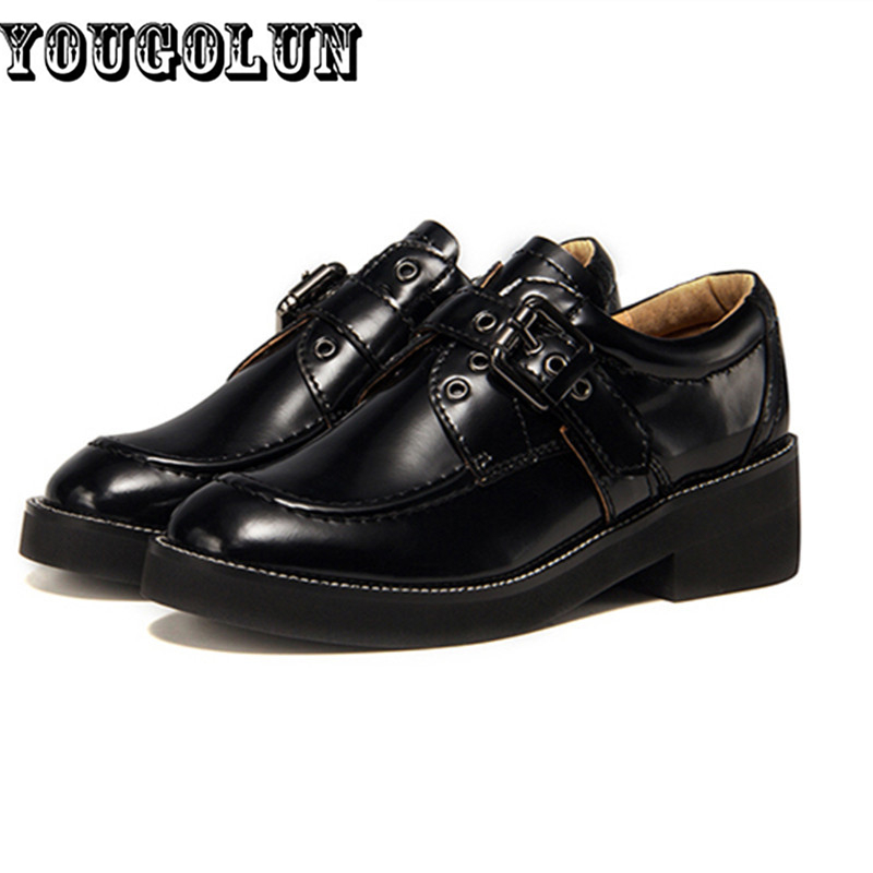 Black patent genuine leather flat platform women shoes 2015 new woman autumn fashion round toe buckle loafers flats Casual shoes<br><br>Aliexpress