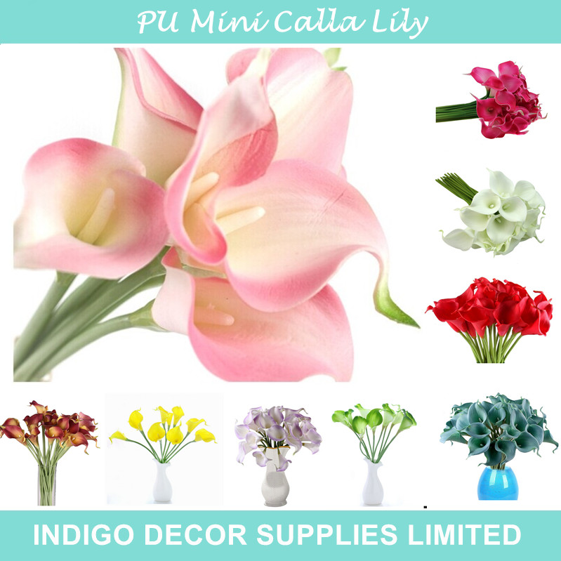 Promotion Mini Size PU Calla Lily Real Touch Many Colors Decorative Flower Artificial Flower Wedding Party Flower Free Shipping(China (Mainland))