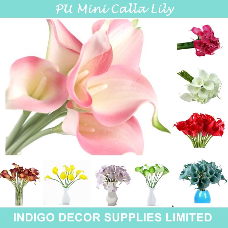 Promocion Tamano Mini PU Calla Lily Real Touch Muchos Colores Flores Decorativas Flores