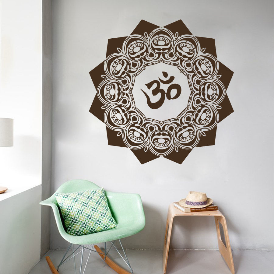 Wall Decals Mandala Yoga OM Symbol Indian Decal Vinyl Sticker Home Decor 22inX22in