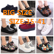 Creepers shoes 35-41 women Shoes zapatos mujer plus size ladies creepers platform shoes Women Flats shoes