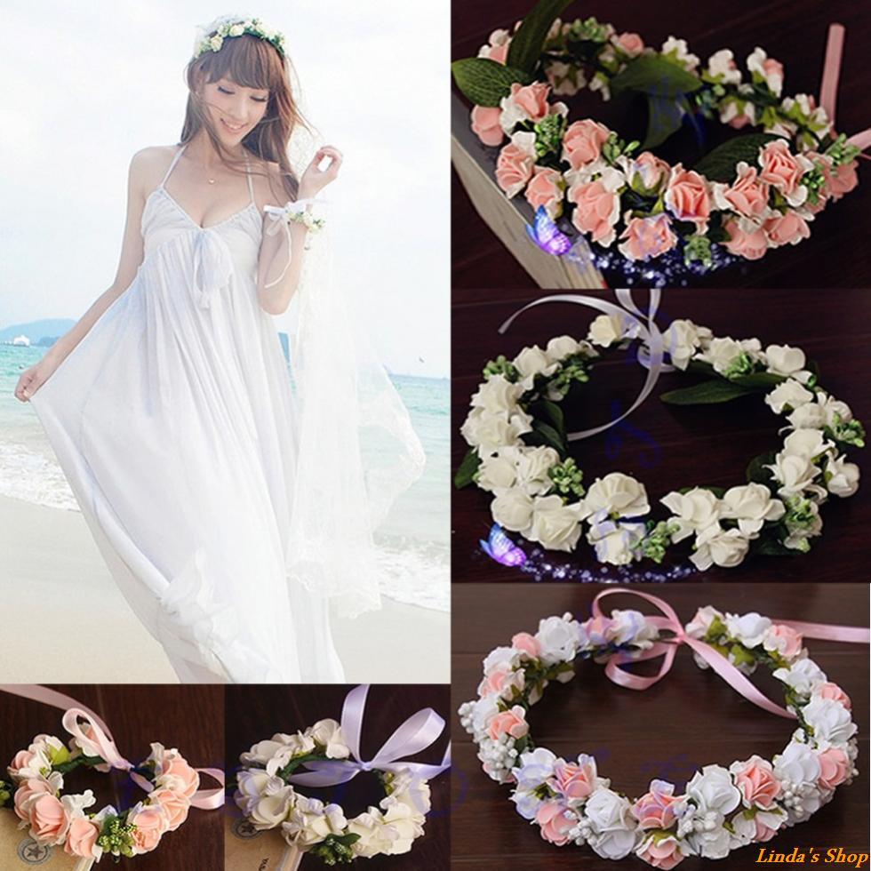 Свадебный венок из искусственных цветов своими руками