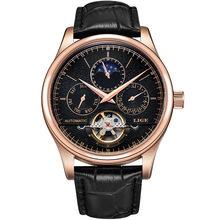 LIGE marque hommes montres automatique mécanique montre Tourbillon Sport horloge en cuir décontracté affaires rétro montre-bracelet Relojes Hombre(China)