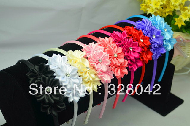 Trail order Free Shipping diamond centre pink satin headwear with satin ribbon flowers hairbands hair accessory20 pcs/lot