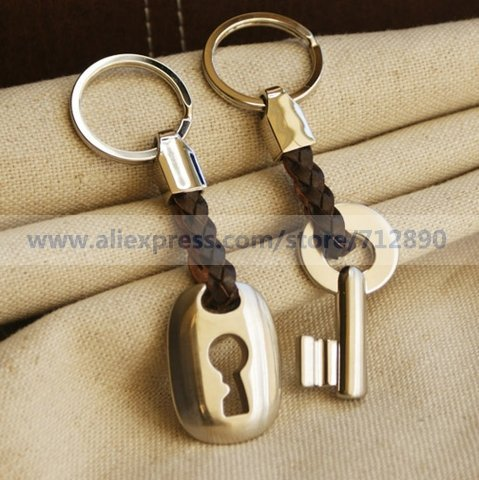 """Free Shipping """"Hemp Roped in Love"""" Key & Lock Keyring Set in Velvet Gift Bag For Wedding Favors Gifts Party Accessory Decoration"""