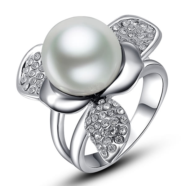free shipping Fashion White Simulated Pearl Ring Platinum White Gold Plated Rings Jewelry(China (Mainland))