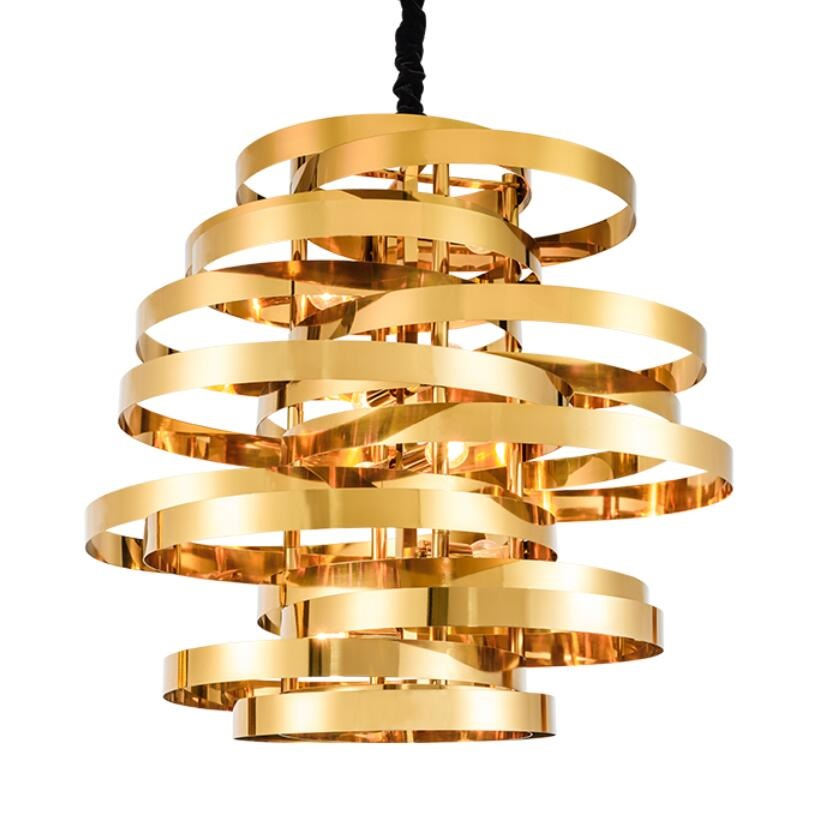 modern stainless steel led pendant lamp gold c