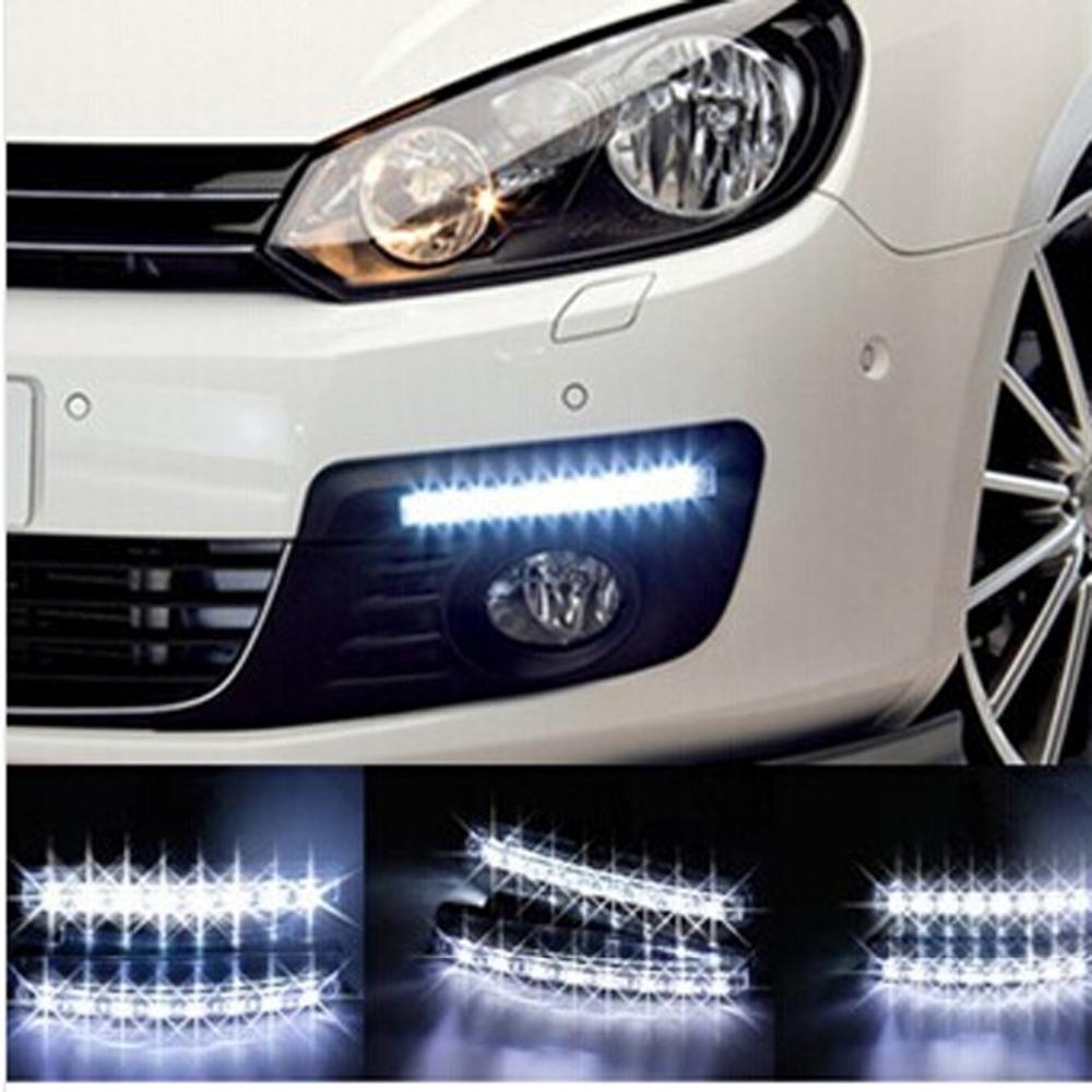 2pcs/lot Super White 8 LED Daytime Running Lights Drl Light Bar Parking Car Fog Lights Strobe Light 12V DC Head Lamp(China (Mainland))