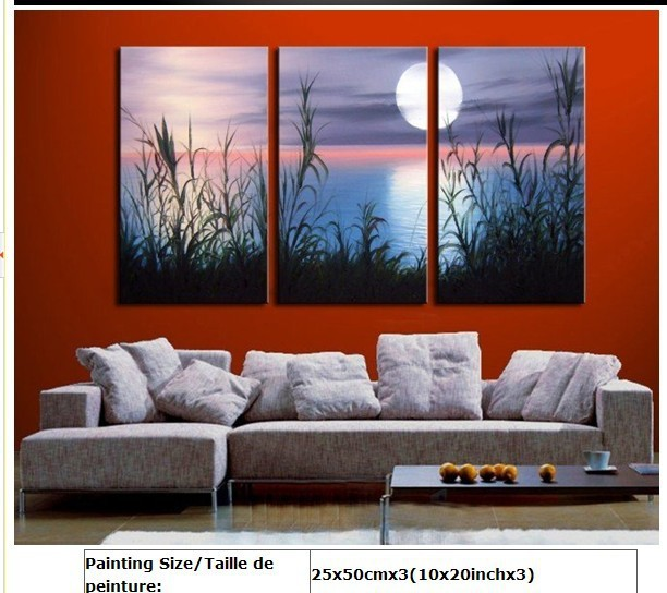 100% Hand painted Sunrise the lake grass landscape Wall home Decor Oil Painting on canvas 3pcs(China (Mainland))
