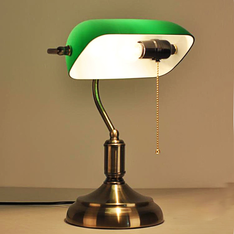 Study Table Lamp : Shanghai shipping antique green cover of National Bank study desk lamp ...