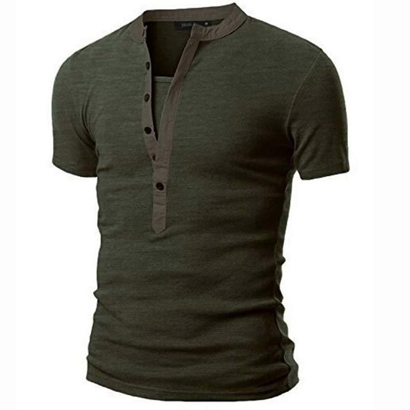 new t shirt men tshirt homme 2016 mens fashion army green short sleeve henley shirt brand slim. Black Bedroom Furniture Sets. Home Design Ideas