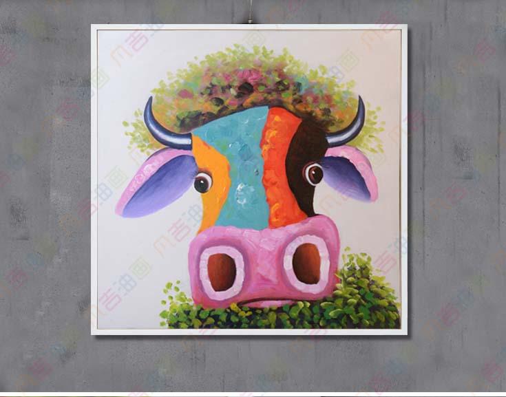 Handmade restaurant decoration paintings modern oil for Cartoon mural painting