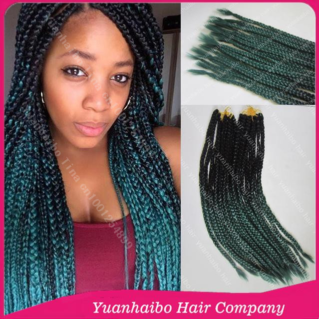 22 colored two tone synthetic crochet braids ombre box braiding ...
