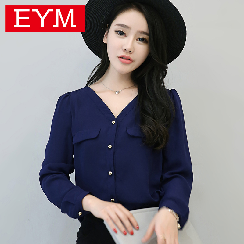 New 2016 Summer Style Women's V-neck Long Sleeve Chiffon Shirt Solid Color Button Casual Shirt Female Blouse Ladies Tops Chemise(China (Mainland))