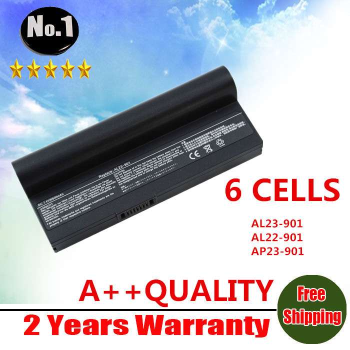 wholesale New laptop battery for Eee PC 901 904HD 1000 1000H 1000HD Eeepc 901 AL24-1000 AL23-901 6 cells free shipping(China (Mainland))