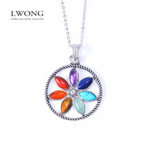 2016 New Natural Stone Reiki Chakra Pendant Necklace Women Healing Crystals Moon Necklaces Semi-Precious Stone Jewelry 22 Design(China (Mainland))