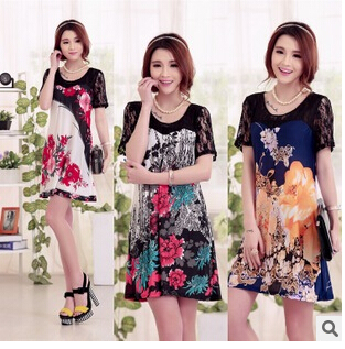 Summer wear loose big show thin ice silk dress code direct selling 2015 new bud silk joining together dress with short sleeves(China (Mainland))