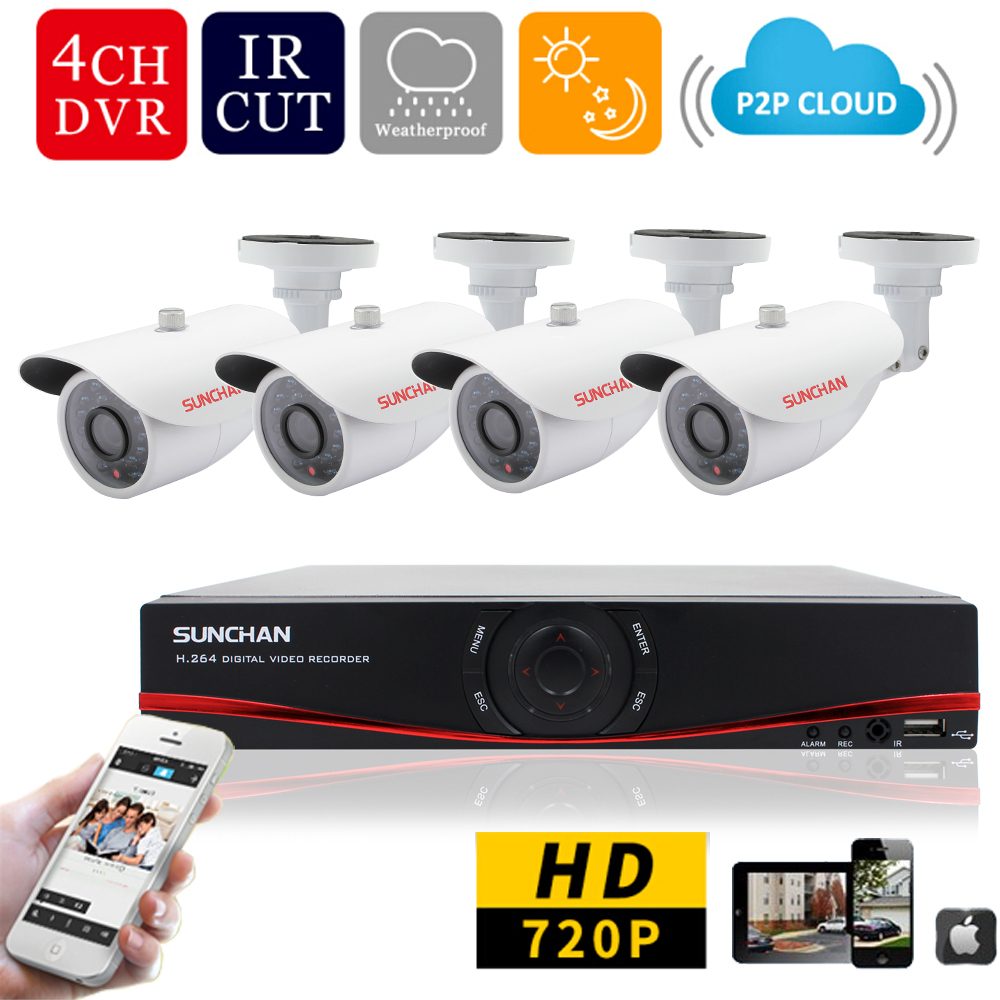 SUNCHAN 4CH 1MP HD AHD CCTV Camera 720P 24 Leds Day Night Vision Outdoor/Indoor Security Camera System Home Surveillance(China (Mainland))