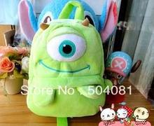 BEST seller Sulley backpack monsters University/inc Mike plush kids green school bags Cosplay one eyed toy children shoulder bag(China (Mainland))
