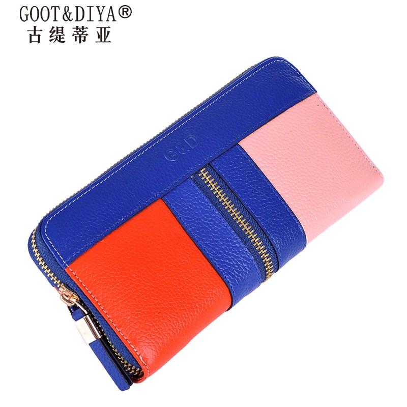 New 2014 Designer Women Wallets Genuine Leather Patchwork Long Zipper Female Wallet Women Purses Luxury Clutches Purse<br><br>Aliexpress