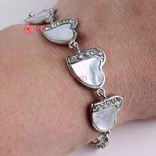 YGB 1Pcs Charm Natural White paua shell  heart shape bracelet  Jewelry Gift(China (Mainland))