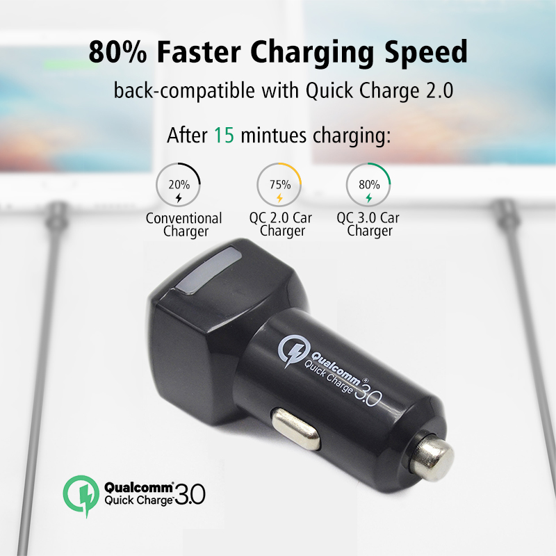 Dual USB Quick Charge 3.0 2 USB Car Charger Fast Charging 2.4A QC3.0 Mobile Phone Travel Adapter car-charger(China (Mainland))