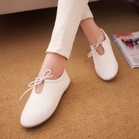 New Fashion Women Shoes Lace Up Round Toe Women Flats Heels Student England Style Ladies Shoes