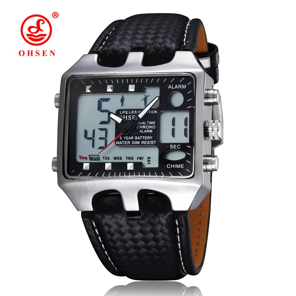 OHSEN Black Fashion Digital Quartz Men Wristwatch Leather strap 30M Waterproof Military Watches relogio masculino - YIMI FASHION WATCH STORE store