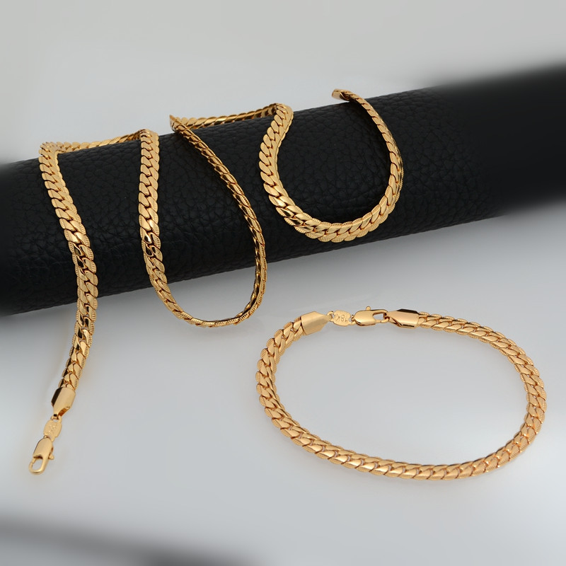 Unisex Necklaces Bracelets High quality Korean snake chain link necklace & bangle Suitable Jewelry 18K Real Gold Plated HNB60034(China (Mainland))