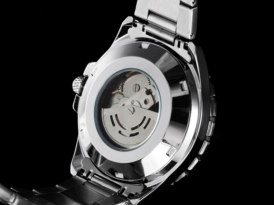 GOER марка мужские спортивные водонепроницаемые наручные часы механическая Автоматическая Нержавеющей Стали Скелет Световой мужской Часы