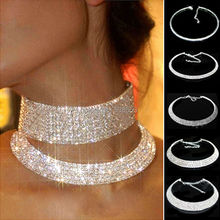 Women Crystal Diamante Rhinestone Necklace Silver Plating Wedding Bridal Party Collar Choker Chain Necklace Jewelry Gifts(China (Mainland))