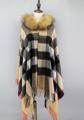 Brand New Women s Fashion Plaid Wool Raccoon Fur Trimed Hooded Tassels Cape Pashmina Lady Shawl