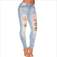 2016 in jeans Simple Fashion Women's Clothing Avant-garde Hole Feet Tall Waist Cultivate One's Morality Women's Jeans