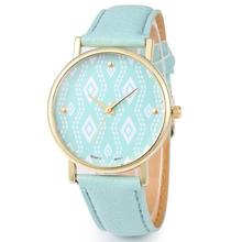 2015 la dignidad de moda patrón hombres flor relojes correa de cuero de impresión azteca del reloj del ocio de negocios de ginebra Watch Women Watch vestido