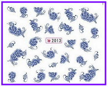 1X   Water Transfers Stickers Nail Decals Stickers Water Decal  China Blue Flower SY2013(China (Mainland))