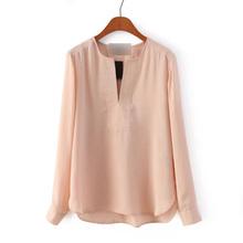 2015 Spring Women Chiffon Blouse High Quality Solid Color Shirt Long Sleeve V-Neck Blouse Office OL Shirt Brand Tops GA8041(China (Mainland))