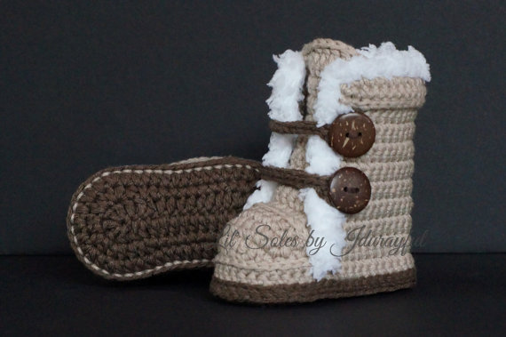 Baby Wrap Boots Crochet Baby Shoes,Crochet Baby Booties Tan/Brown,Handmade Baby boy Boots Tan/Brown Choose Size:9cm 10cm 11cm(China (Mainland))