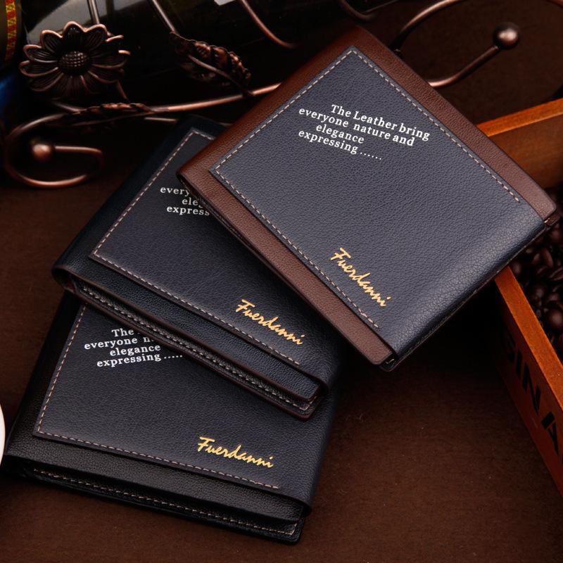 New Fashion Men Short Designer Wallet PU Leather Brand Word Wallets Card Bag Money Man Purse