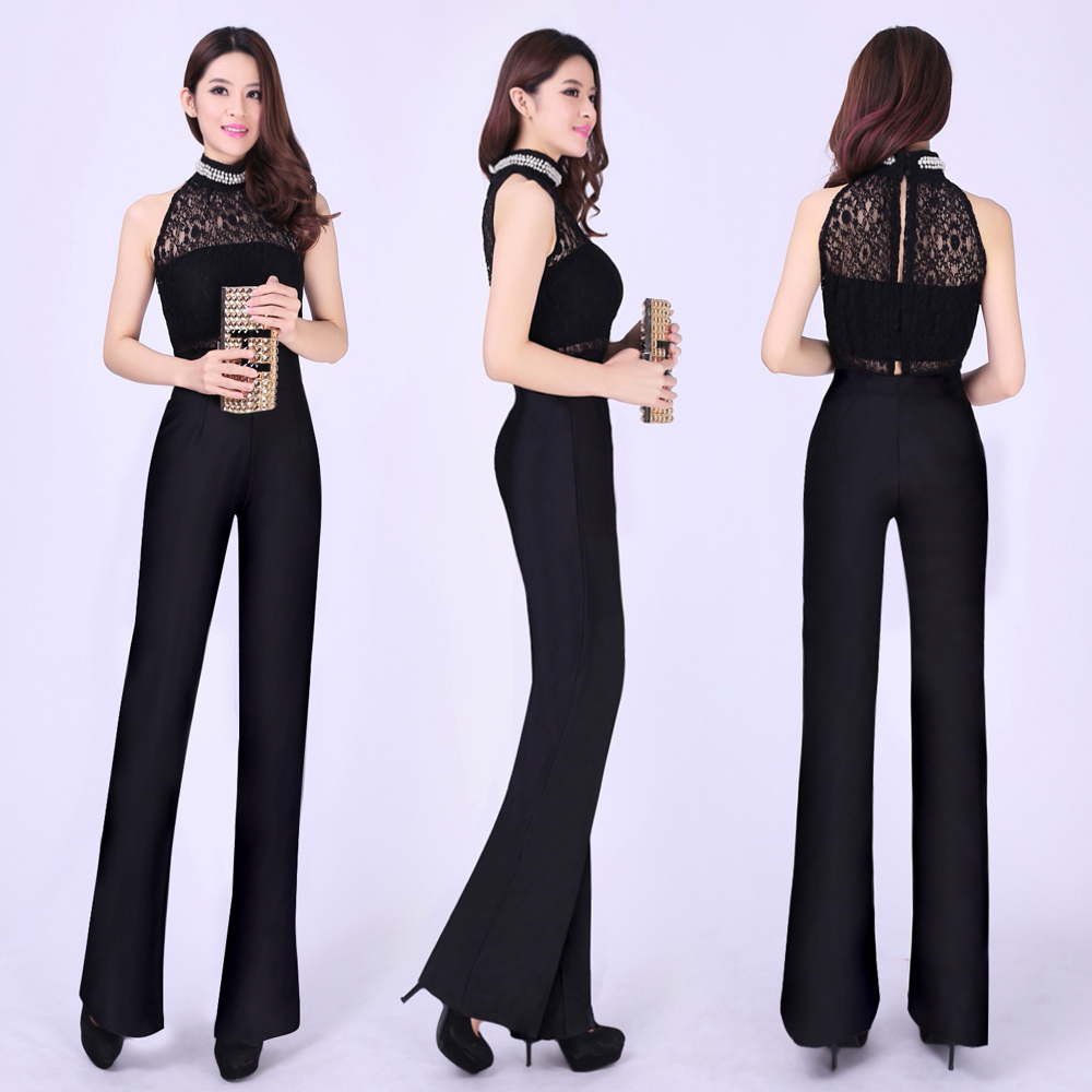 Black high waist wide leg pants jumpsuit trousers jumpsuit formal 2015 spring and summer ol elastic(China (Mainland))