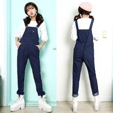 S1F108#8885 2016 Korean New Female Loose Denim Strap Trousers Jeans Jumpsuit Women Cute Plus Size Denim Overalls Fashion