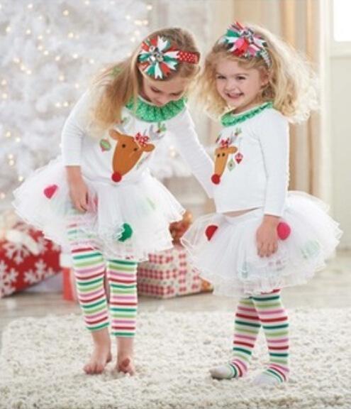 2015 Clothing sets girl elk pattern christmas set t shirt +skirt pants kids new year baby clothing baby wear(China (Mainland))