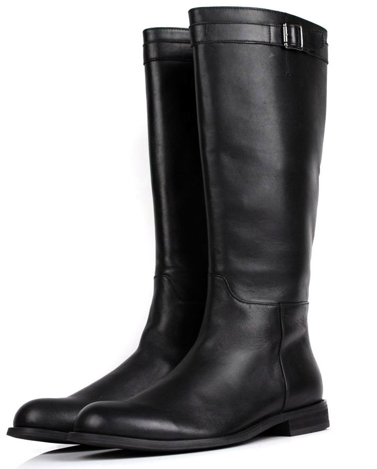 large size slim zipper knee high mens boots genuine