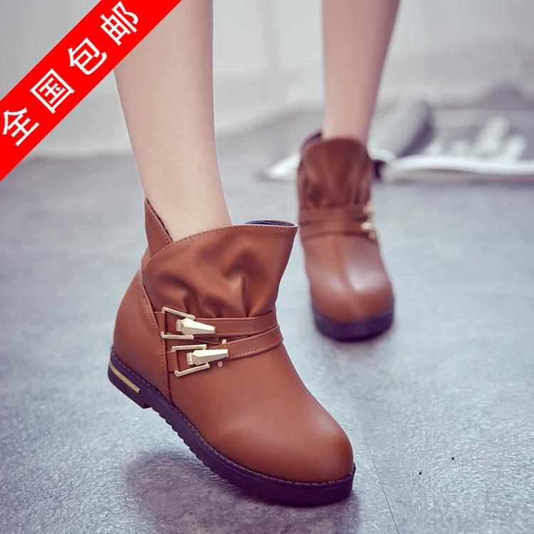 Здесь можно купить  Autumn and winter casual double buckle round toe boots low heel sleeve elevator female shoes  Обувь